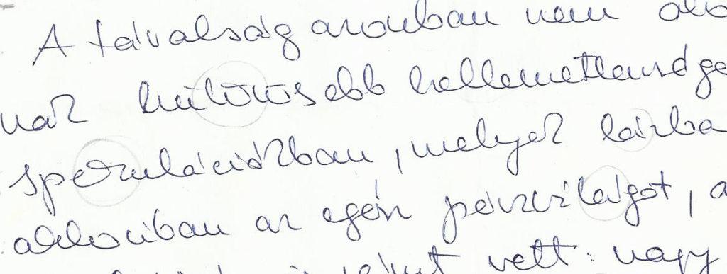 A Nyilas aszcendensű olvasó írásmintája