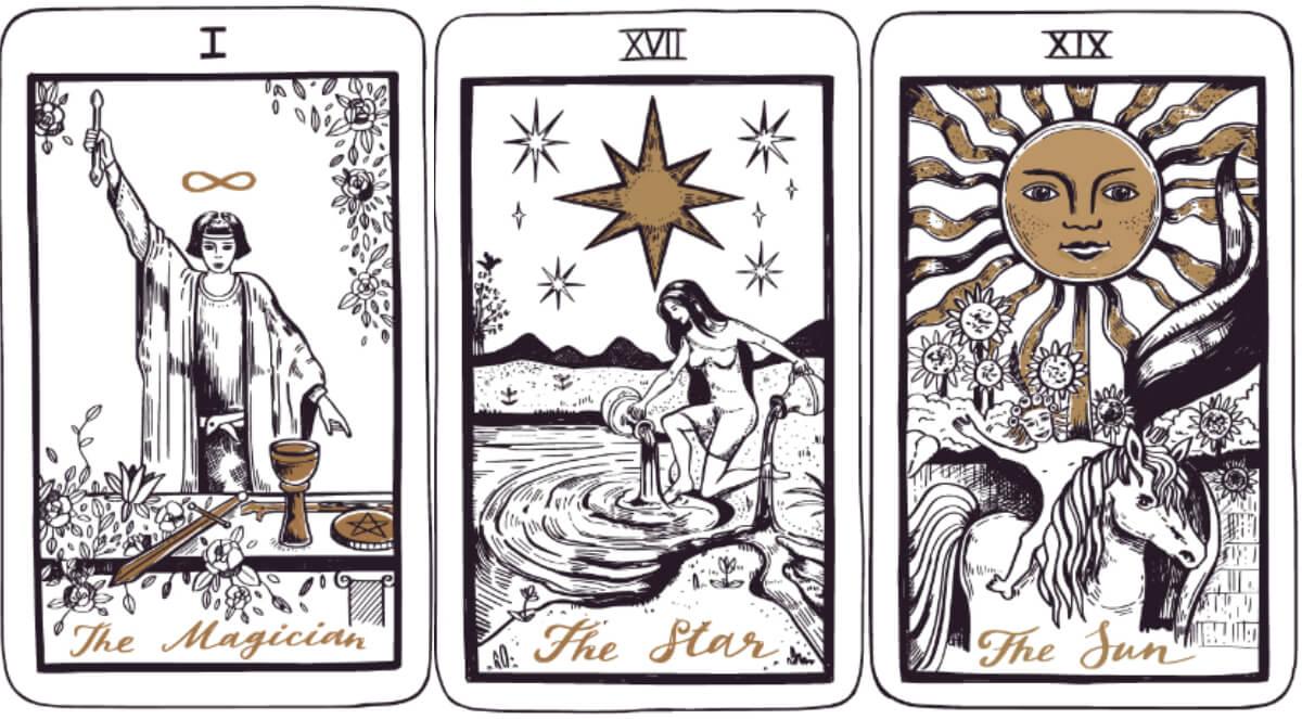 Tarot jóslás a Vízöntő havában. A Mágus, a Csillag és a Nap kártyák üzenete